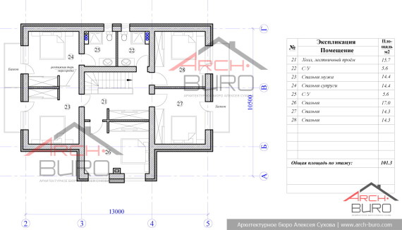 План мансардного этажа проекта загородного дома