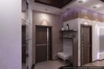 Интерьер трехкомнатной квартиры. Дизайн гостиной, совмещённой с кухней-столовой и прихожая