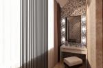 Интерьер трехкомнатной квартиры. Дизайн спальни с гардеробной и утеплённой лоджией