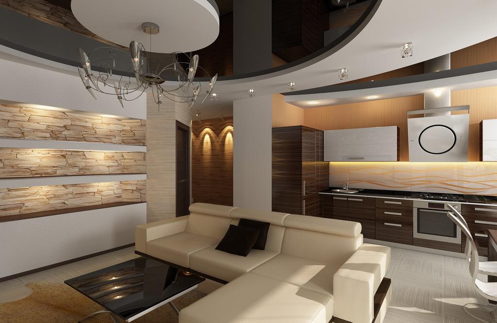 Комната студия с кухней дизайн фото