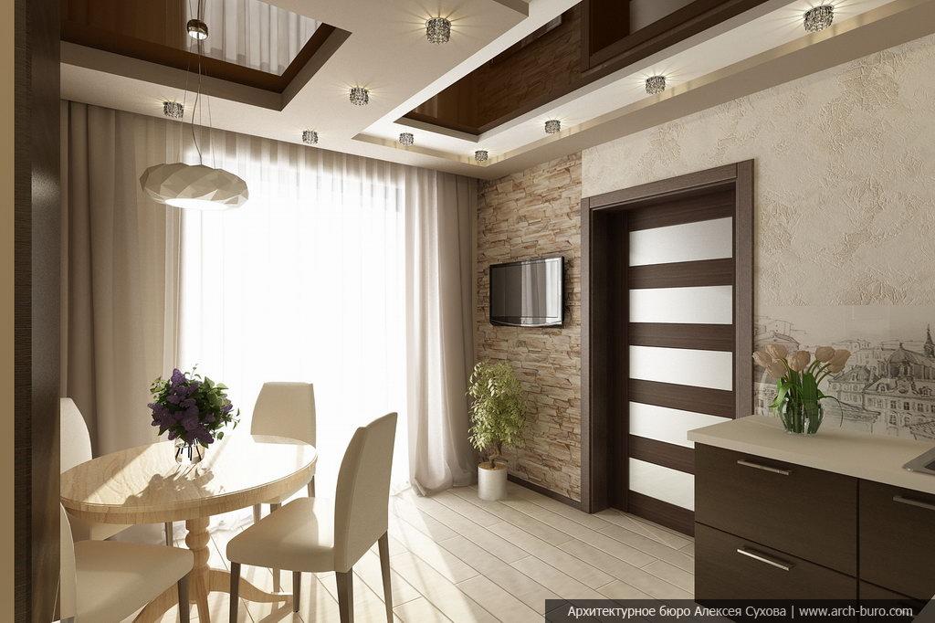 Дизайн гостиной в коричнево бежевых тонах фото