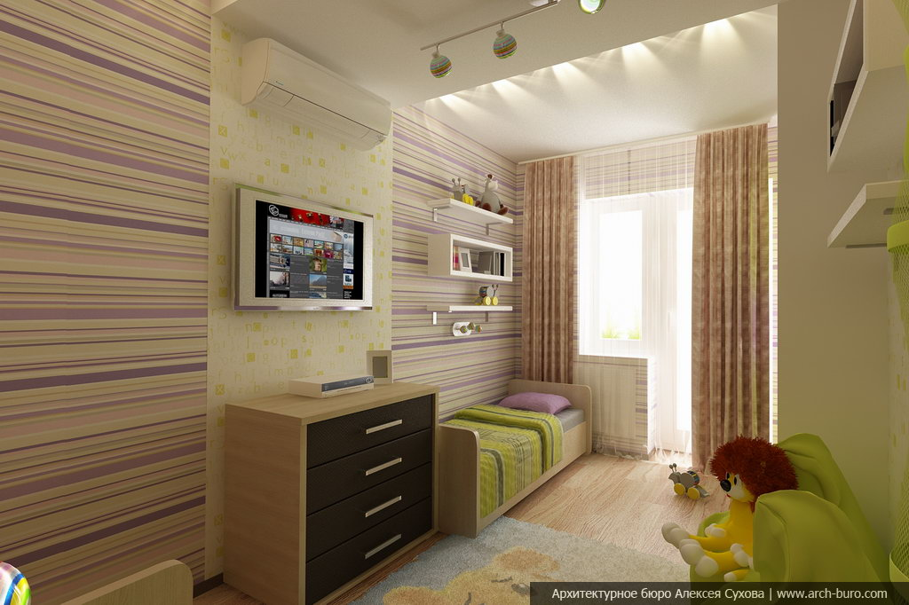 Удобный и разноплановый дизайн интерьера детской комнаты.