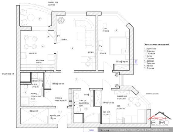 Планировочное решение 3-х комнатной квартиры в Москве