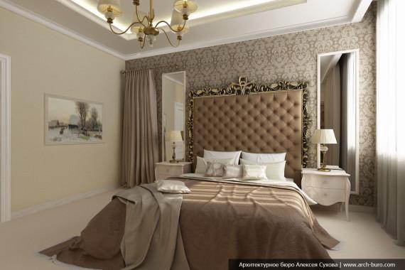 Дизайн интерьера спальни в коттедже
