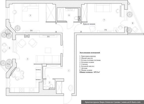 План перепланировки квартиры для современной семьи