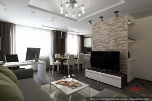 Совмещённая гостиная-кухня-столовая в стандартном панельном доме