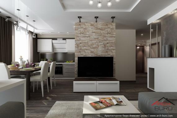 Гостиная, совмещённая с кухней-столовой