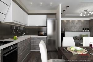 Кухня совмещённая с гостиной в стандартном панельном доме