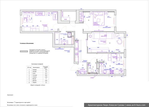 Планировка квартиры в Академическом районе с расстановкой мебели