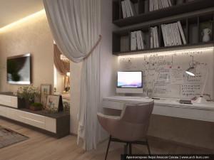 Современный интерьер. Спальня с кабинетом и гардеробной комнатой