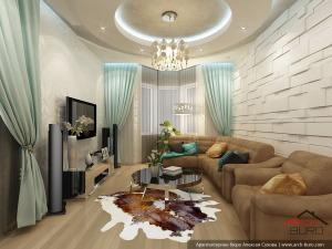 Коттедж. Дизайн гостиной.