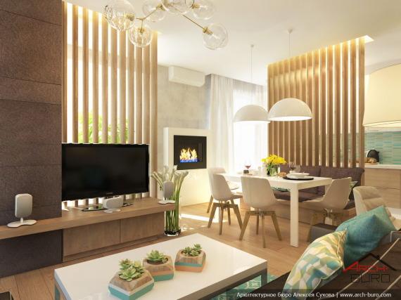 Проект квартиры. Гостиная-кухня-столовая