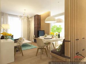 Интерьер гостиной и кухни столовой