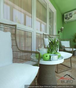 Проект интерьеров лоджии и балкона в Химках