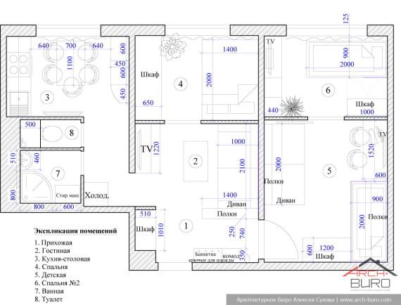 Дизайнерская планировка малогабаритной квартиры