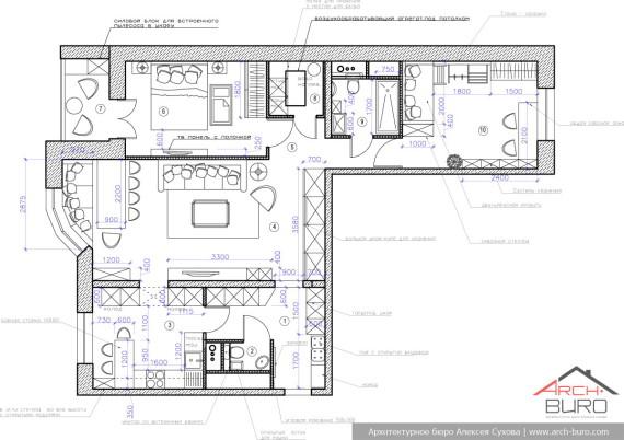 Планировка квартиры в Москве. Современный стиль интерьера