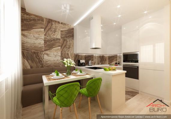 Кухня-столовая. Дизай интерьеров 3 комнатной квартиры, г. Хабаровск