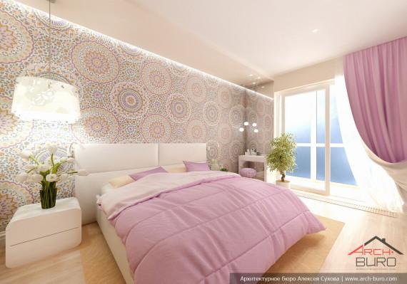 Спальня. Дизай интерьеров 3 комнатной квартиры, г. Хабаровск