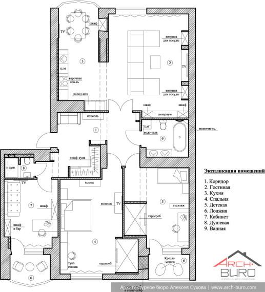 Планировка квартиры в классическом стиле интерьера