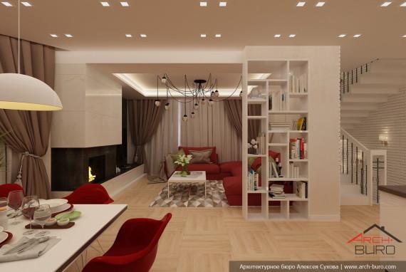 Интерьер гостиной в коттедже с камином