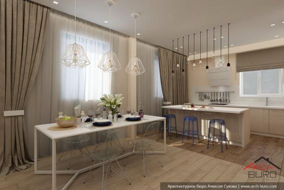 Проект гостиной в доме совмещённой с кухней и столовой