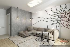 Интерьер гостиной, зона дивана. Дизайн Квартиры в Красногорске