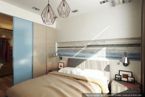 Интерьер спальни с гардеробом. Дизайн Квартиры в Красногорске