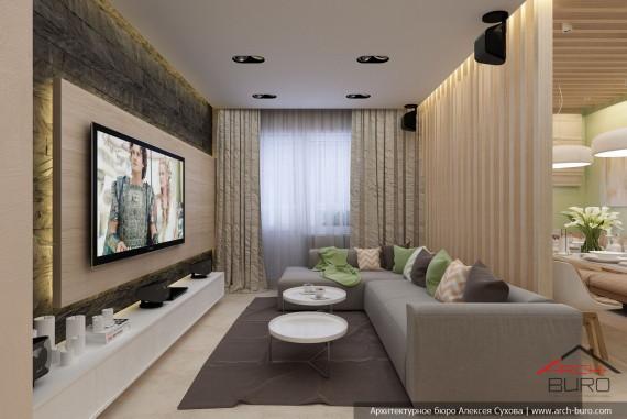 Дизайн гостиной-студии в г. Якутск
