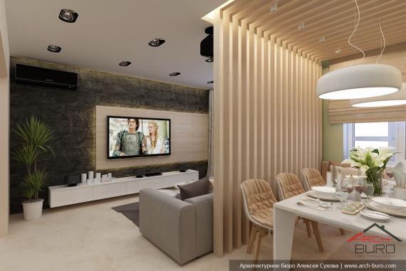 Дизайн кухни-гостиной в г. Якутск