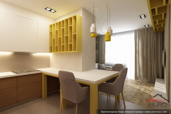 Кухня гостиная. Дизайн проект