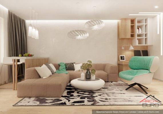 Дизайн гостиной в квартире для молодой семьи