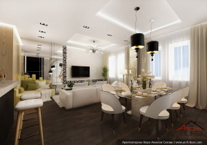 Дизайн квартиры в Астане. Казахстан. Интерьер гостиной