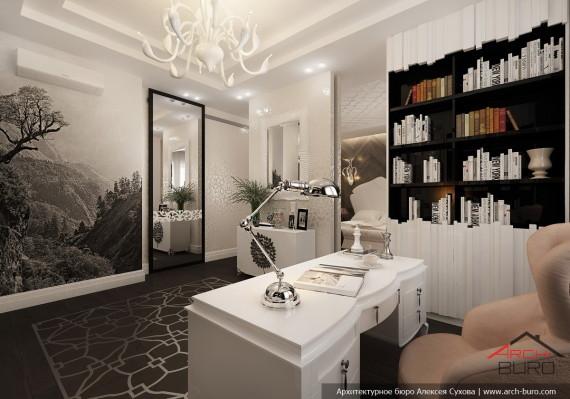 Дизайн квартиры в Астане. Казахстан. Интерьер кабинета