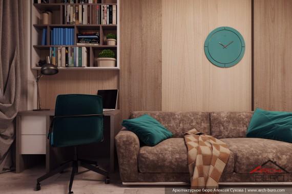 Качественный современный интерьер квартиры. Кабинет