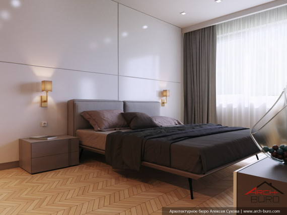 Качественный современный интерьер квартиры. Спальня