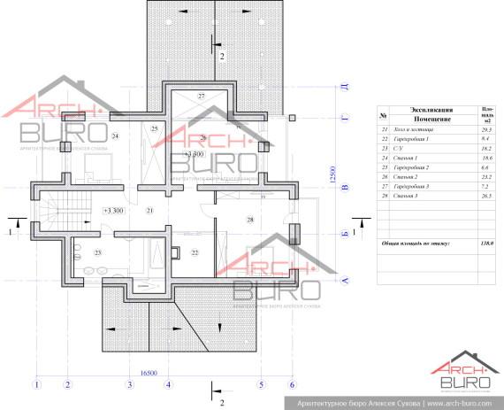 Планировка двухэтажного коттеджа