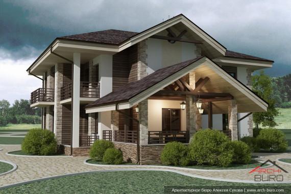 Проекты домов. Двухэтажный коттедж с беседкой барбекю