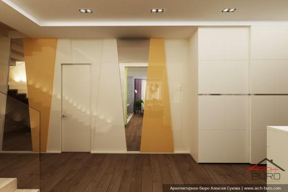Дизайн коттеджа в Южно-Сахалинске. Холл первого этажа