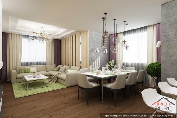 Дизайн коттеджа в Южно-Сахалинске. Гостиная, столовая.