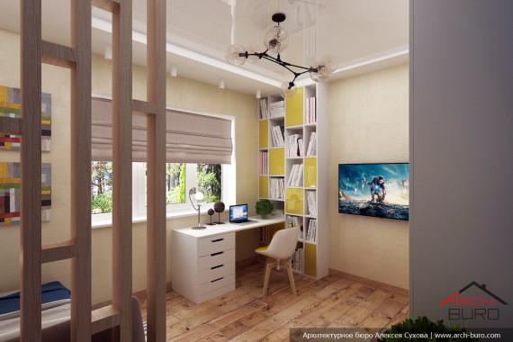 Дизайн интерьера комнаты мальчика. Коттедж в Южно-Сахалинске