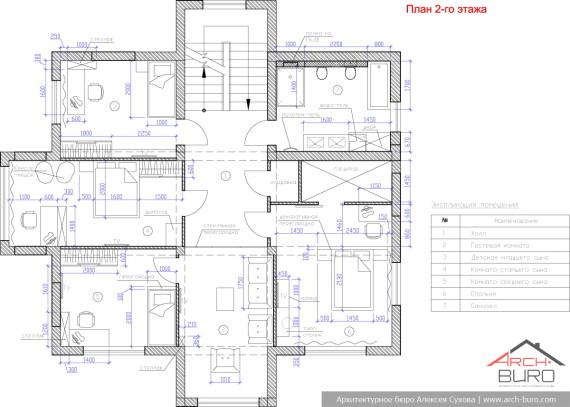 План 2 этажного коттеджа в Южно-Сахалинске