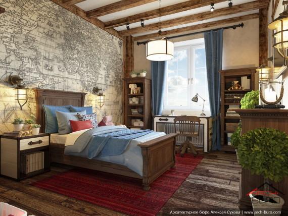 Квартира в американском колониальном стиле. Комната мальчика