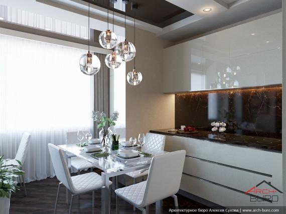 Дизайн кухни-столовой в Люберцах