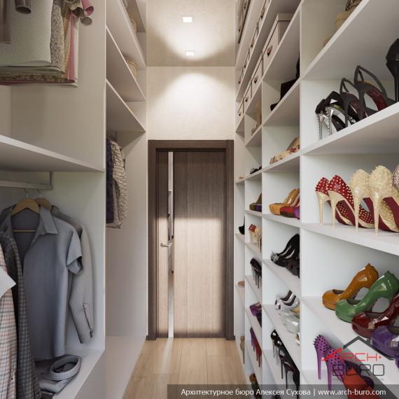Интерьер гардеробной в коттедже Мытищи