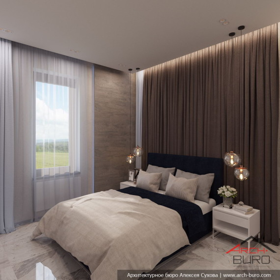Дизайн гостевой спальни коттедж в Мытищи