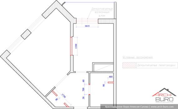 Планировка однокомнатной квартиры г. Люберцы