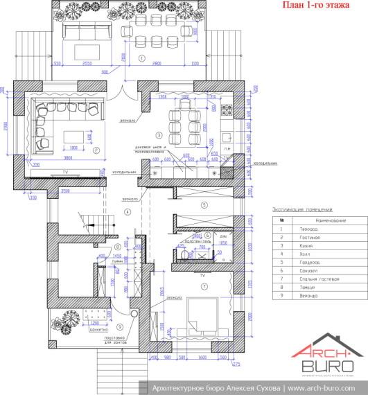 План 1-го этажа коттеджа в Мытищи