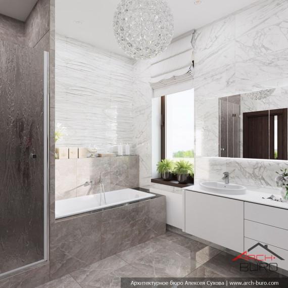 Ванная комната с душевой в доме Мытищи