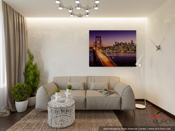 Апартаменты Огни Екатеринбурга. Гостевая комната. Дизайн