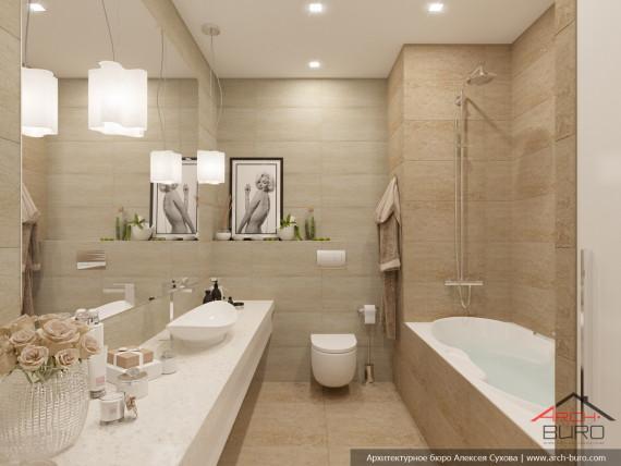 Апартаменты Огни Екатеринбурга. Интерьер ванной комнаты